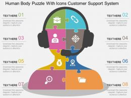 Human Body Puzzle With Icons Customer Support System Flat Powerpoint Design