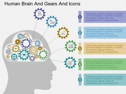 Human Brain And Gears And Icons Flat Powerpoint Design