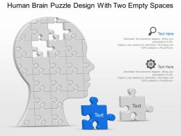 Human Brain Puzzle Design With Two Empty Spaces Powerpoint Template Slide