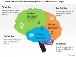 Human Brain Puzzle For Business Application Flat Powerpoint Design