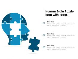 Human Brain Puzzle Icon With Ideas