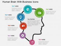 Human Brain With Business Icons Flat Powerpoint Design