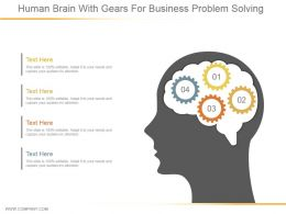 Human Brain With Gears For Business Problem Solving Ppt Design Templates
