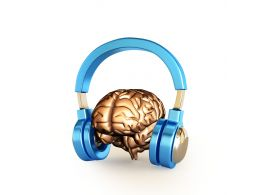 Human Brain With Headphone Stock Photo