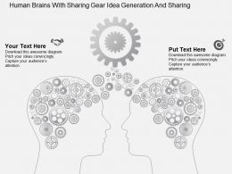 Human Brains With Sharing Gear Idea Generation And Sharing Flat Powerpoint Design