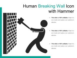 Human Breaking Wall Icon With Hammer