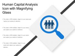 Human Capital Analysis Icon With Magnifying Glass