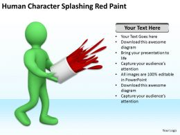 Human Character Splashing Red Paint Ppt Graphics Icons PowerPoint