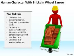 Human Character With Bricks In Wheel Barrow Ppt Graphics Icons PowerPoint