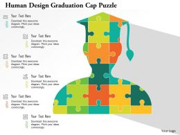human_design_graduation_cap_puzzle_flat_powerpoint_design_Slide01