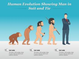 Human Evolution Showing Man In Suit And Tie