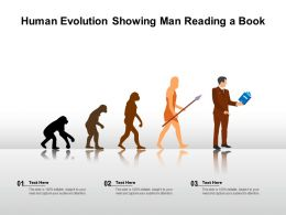 Human Evolution Showing Man Reading A Book