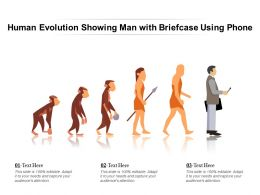 Human Evolution Showing Man With Briefcase Using Phone