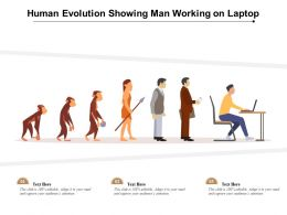 Human Evolution Showing Man Working On Laptop