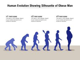 Human Evolution Showing Silhouette Of Obese Man