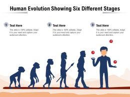 Human Evolution Showing Six Different Stages