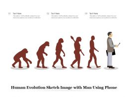 Human Evolution Sketch Image With Man Using Phone