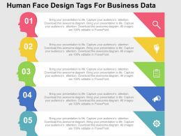 Human Face Design Tags For Business Data Flat Powerpoint Design