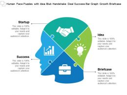 Human Face Puzzles With Idea Blub Handshake Deal Success Bar Graph Growth Briefcase