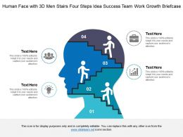 Human Face With 3d Men Stairs Four Steps Idea Success Team Work Growth Briefcase