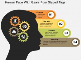 Human Face With Gears Four Staged Tags Flat Powerpoint Design