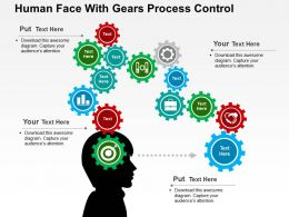 Human Face With Gears Process Control Flat Powerpoint Design