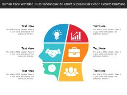 Human Face With Idea Blub Handshake Pie Chart Success Bar Graph Growth Briefcase