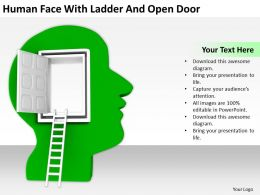 Human Face With Ladder And Open Door Ppt Graphics Icons PowerPoint