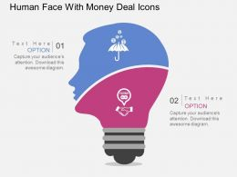 Human Face With Money Deal Icons Flat Powerpoint Design