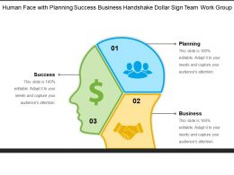 Human Face With Planning Success Business Handshake Dollar Sign Team Work Group 2