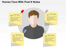 Human Face With Post It Notes Flat Powerpoint Design