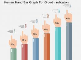 Human Hand Bar Graph For Growth Indication Flat Powerpoint Design