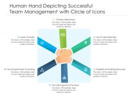 Human Hand Depicting Successful Team Management With Circle Of Icons