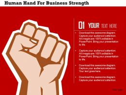 Human Hand For Business Strength Flat Powerpoint Design