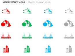 Human Hand Geometrical Shapes Bridge Towers Ppt Icons Graphics