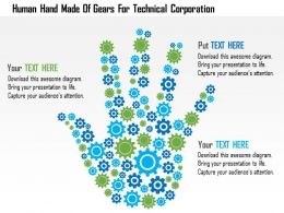 Human Hand Made Of Gears For Technical Corporation Flat Powerpoint Design
