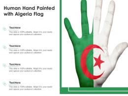 Human Hand Painted With Algeria Flag