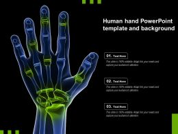 Human Hand Powerpoint Template And Background
