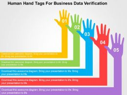 Human Hand Tags For Business Data Verification Flat Powerpoint Design