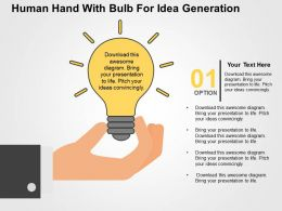 Human Hand With Bulb For Idea Generation Flat Powerpoint Design