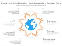 Human Hand With Circle Of Icon Depicting Qualities Of Successful Team