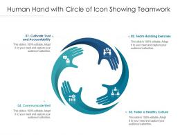Human Hand With Circle Of Icon Showing Teamwork