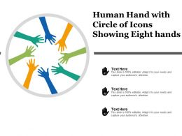 Human Hand With Circle Of Icons Showing Eight Hands