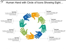 Human Hand With Circle Of Icons Showing Eight Hands Connecting