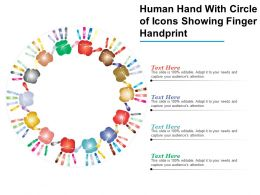 Human Hand With Circle Of Icons Showing Finger Handprint