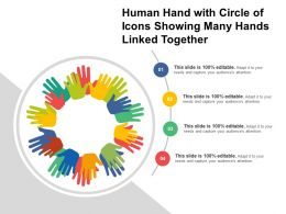 Human Hand With Circle Of Icons Showing Many Hands Linked Together