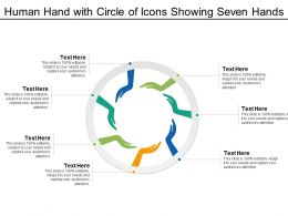 Human Hand With Circle Of Icons Showing Seven Hands