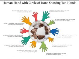 Human Hand With Circle Of Icons Showing Ten Hands