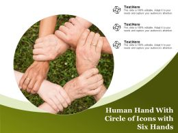 Human Hand With Circle Of Icons With Six Hands