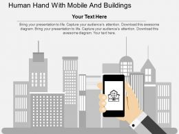 Human Hand With Mobile And Buildings Flat Powerpoint Design